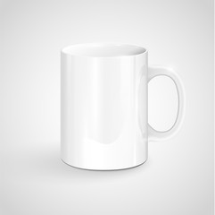 Realisctic white mug, vector.