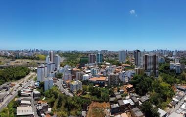 A clear blue sky on city of Salvador