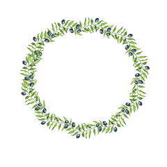 Cartoon olive branches frame isolated on white background. Hand drawn watercolor illustration.