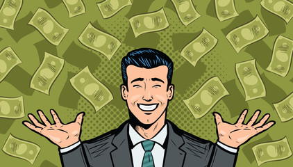 Successful businessman and dollars. Wealth, winning, success or earnings concept. Cartoon in pop art retro comic style, vector illustration