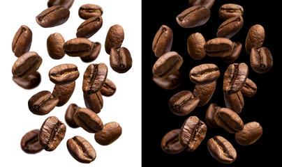 Fotobehang Koffiebonen Falling coffee beans isolated on white and black background