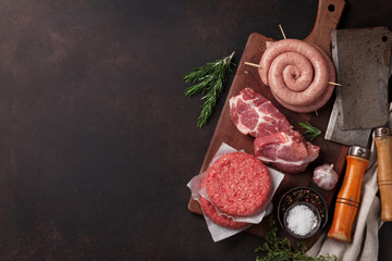 Printed kitchen splashbacks Meat Raw meat and sausages