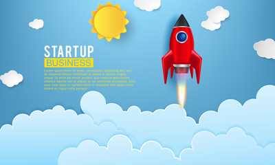 Startup space rocket launch art creative idea