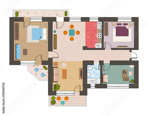 Architectural Flat Plan Top View With Living Rooms Bathroom