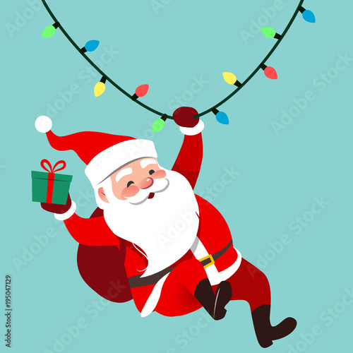 Cartoon Christmas Lights.Vector Cartoon Illustration Of Cute Traditional Santa Claus