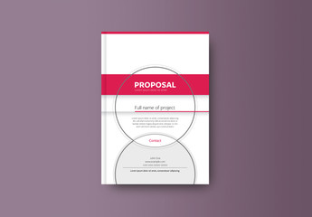 Book or Report Cover Layout with Pink Elements 1