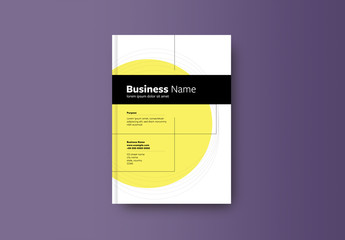 Book or Report Cover Layout with Yellow Element 2