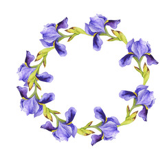 Lilac flower round frame isolated on white background. Hand drawn watercolor illustration.