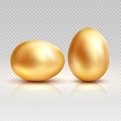 Golden eggs realistic vector illustration for easter greeting card