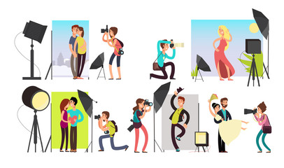 Photographers taking photo portraits of different people in studio. Vector characters set