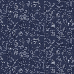 Summer vacation beach toys doodle seamless vector pattern