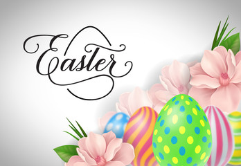 Easter Lettering with Swirls and Eggs