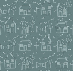 Houses nordic seamless vector pattern