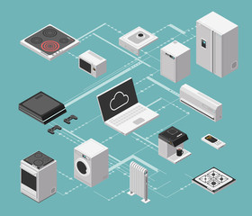 Smart house and electrical control isometric concept with domestic appliances vector illustration