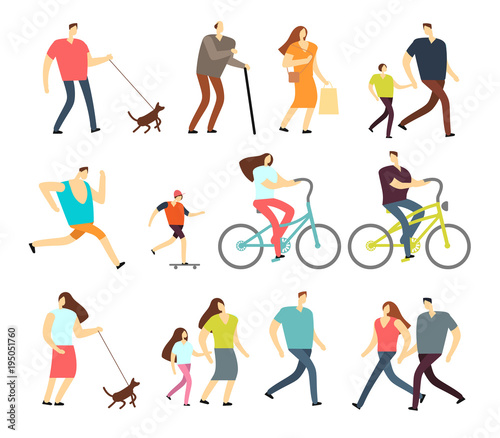 Active people walking, riding bike, running outdoor vector