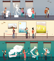 Museum gallery with art pictures, exhibit and children vector banners set
