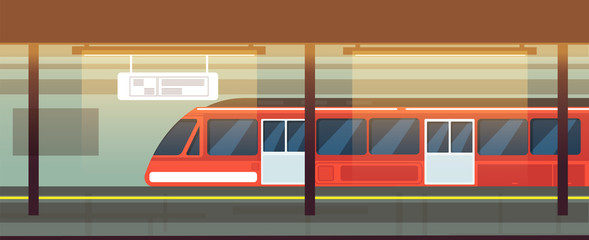Empty subway station interior with metro train vector illustration