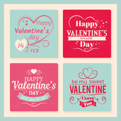 Colorful valentines day grunge cards template with typography sign and hearts