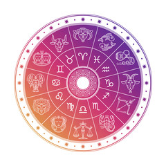 Colorful astrology circle design with horoscope signs isolated on white background