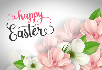 Happy Easter Lettering with Spring Flowers