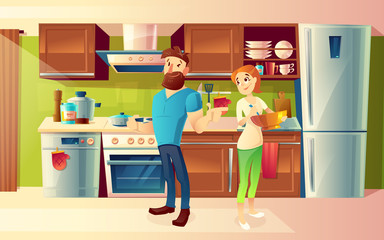 Vector Cartoon Illustration Of Cozy Modern Kitchen With Dinner Table
