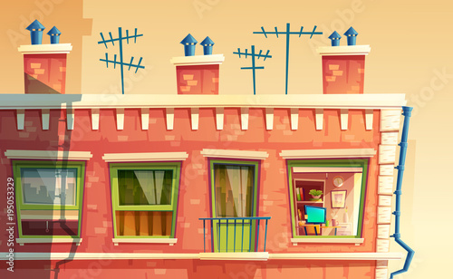 Vector illustration of facade multi-storey apartment, home outside ...