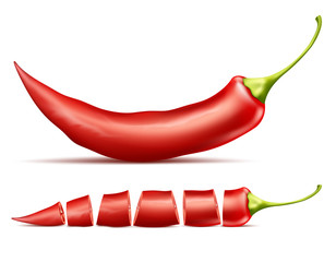 Vector realistic illustration of red hot chili pepper, whole and sliced, isolated on background. Red pod of cayenne, traditional spicy seasoning for mexican cuisine, natural ripe vegetable for cooking