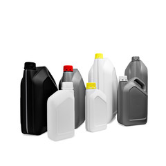 Many plastic multicolored jerrycan canisters in a row isolated on white background for web banner