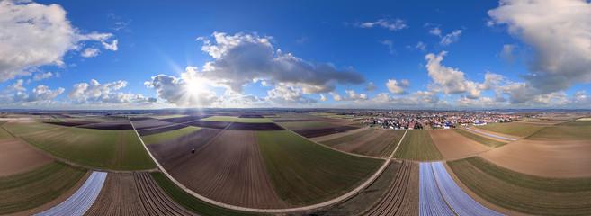 Luftbild Felder Ackerland vor Worms