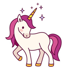Cute unicorn with pink mane simple cartoon vector illustration. Simple flat line doodle icon contemporary style design element isolated on white. Magical creatures, fantasy, dreams theme.