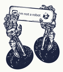 Robot hands tattoo and t-shirt design. Robot arm, captcha, symbol of artificial intelligence, neural network , robot vs human tattoo art