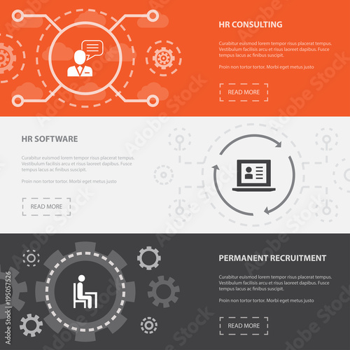 Human Resources 3 horizontal webpage banners template with hr