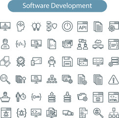 Set of vector web development line icons. software development line icons