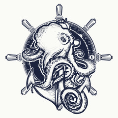 Octopus and anchor tattoo. Symbol of a sea adventure, ocean. Big octopus braids an old anchor t-shirt design
