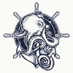 Octopus and anchor tattoo. Symbol of a sea adventure, ocean. Big octopus braids an old anchor t-shirt design