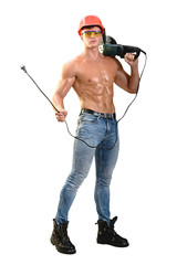 Working athletic build with electric tool on white background