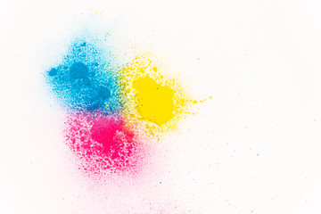 powdered powder paint of red blue and yellow color