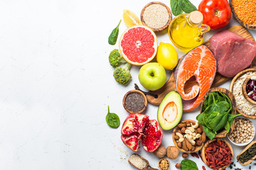 Superfoods on white background. Healthy nutrition.