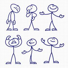 Simple hand drawn stick figures set vector