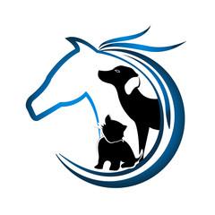 Logo horse, dog and dog vector image