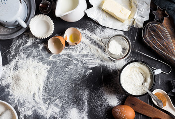 Preparation baking kitchen ingredients for cooking