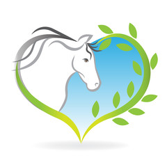 Logo horse icon love heart