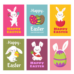 Happy Easter vector greeting cards with cartoon bunny rabbit and easter eggs