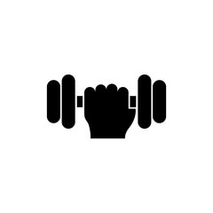 Hand holding weight vector icon. Simple flat symbol on white background