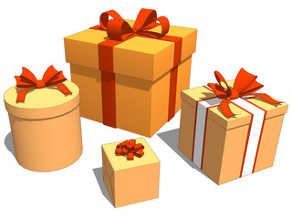 Group gifts with orange color for Birthday or Christmas Celebration in White Background. 3d illustration
