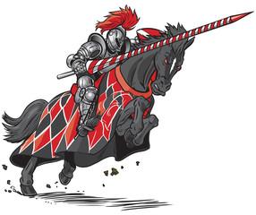 Knight on Horse Jousting Vector Cartoon