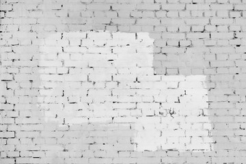 The brick wall is painted with white and gray paint. Background with frame and place for text,...