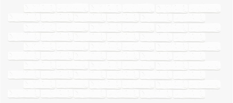 White brick wall texture. Cracked empty background. Grunge light wallpaper. Vintage stonewall. Room design interior. Basic illustration for banners. Isolated rough clean rocks. Backdrop for decoration