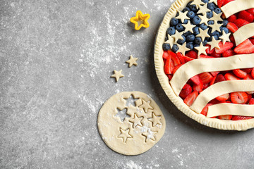 American flag pie on grey background