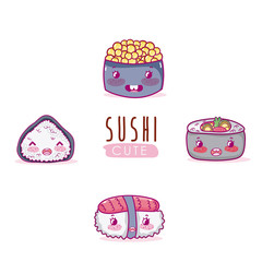 Cute japanese food kawaii cartoon